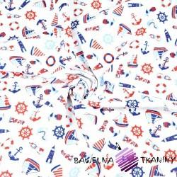 Bawełna marynarskie małe wzory czerwono granatowe na białym tle