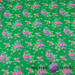 Cotton krakow folk pattern on green background