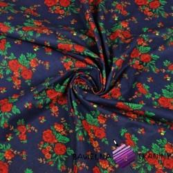 Cotton krakow folk pattern on navy blue background