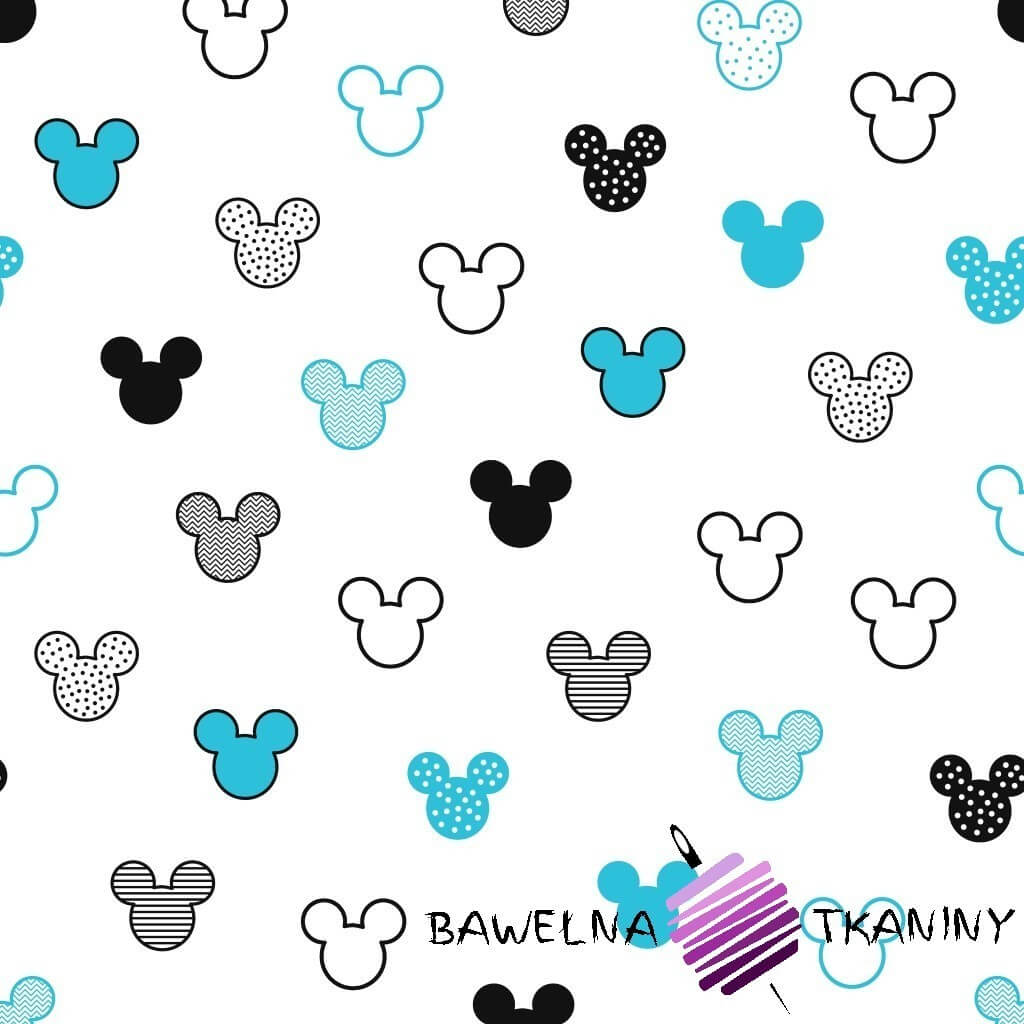 MIKI patterned black turquoise on white background