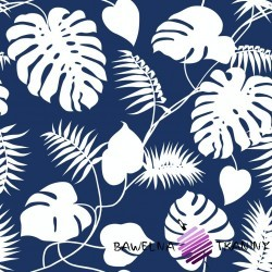 Cotton white leaves on a navy blue background