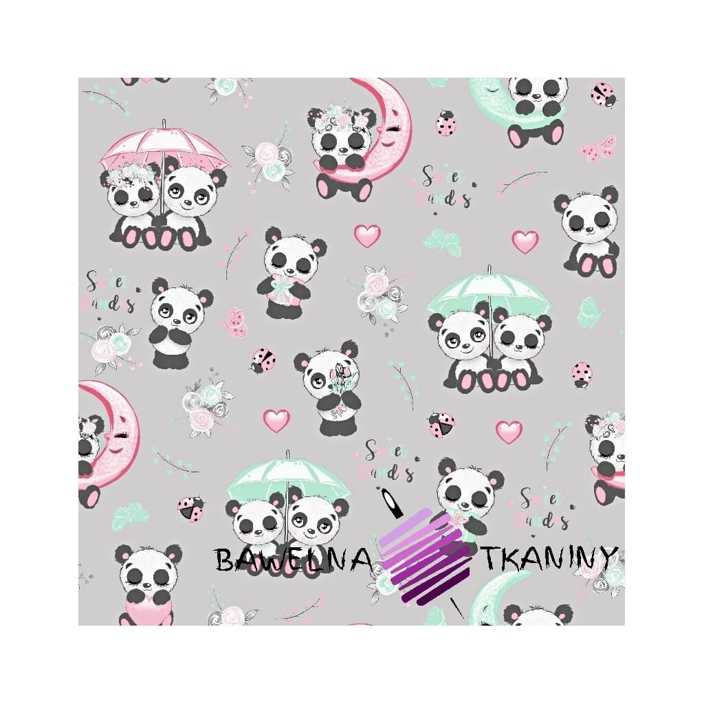Cotton pandas with umbrella on a light gray background