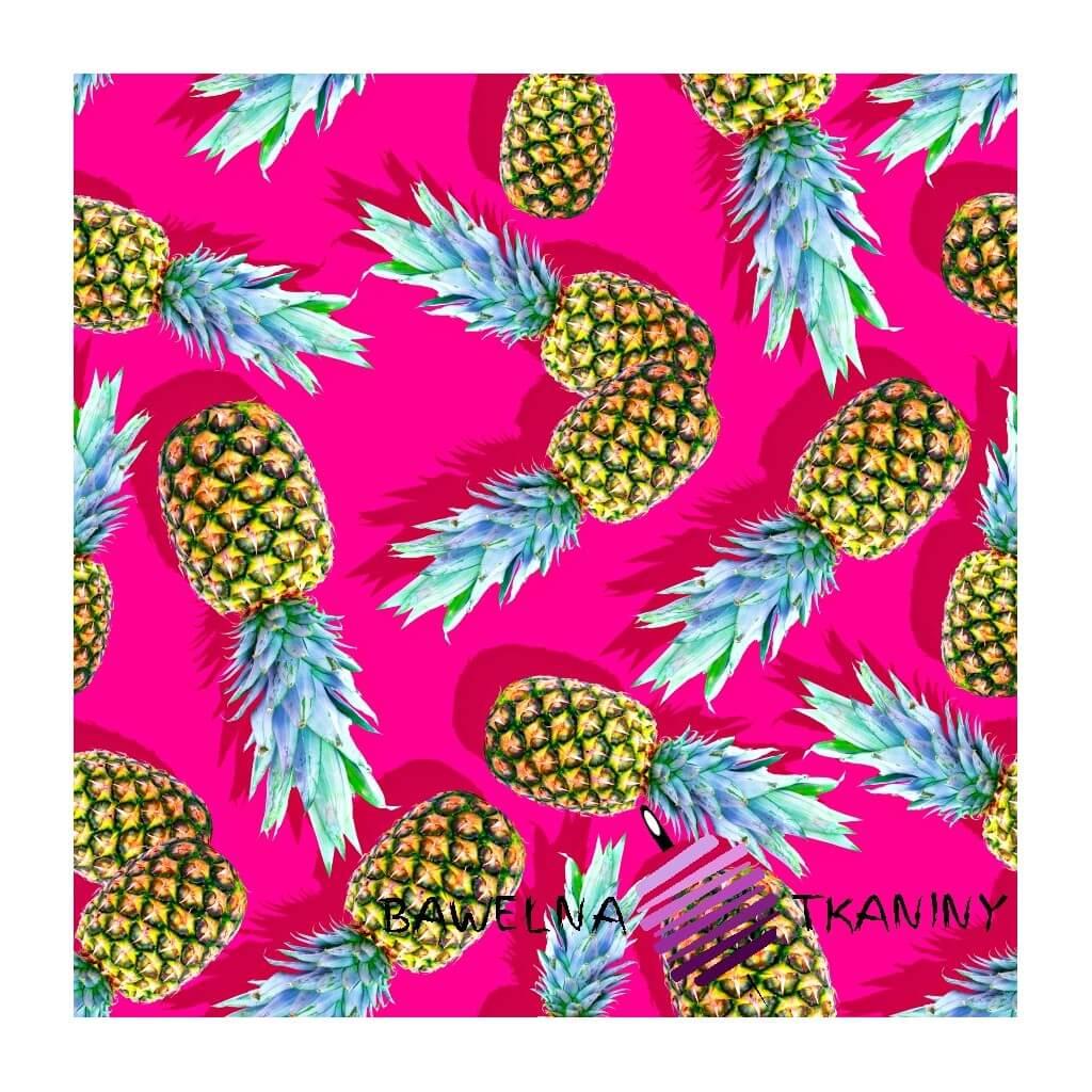 Dzianina Jersey druk cyfrowy - Ananasy na różowym tle