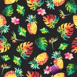 Dzianina Jersey druk cyfrowy ananasy z liściami na ciemno szarym tle