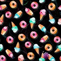 Dzianina Jersey druk cyfrowy słodycze i lody kolorowe na czarnym tle