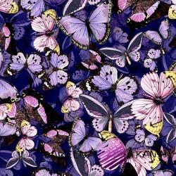 Dzianina Jersey druk cyfrowy motyle na fioletowym tle