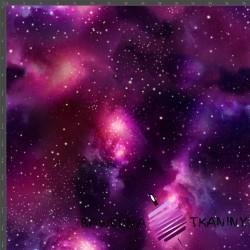Dzianina Jersey druk cyfrowy kosmos różowo fioletowy