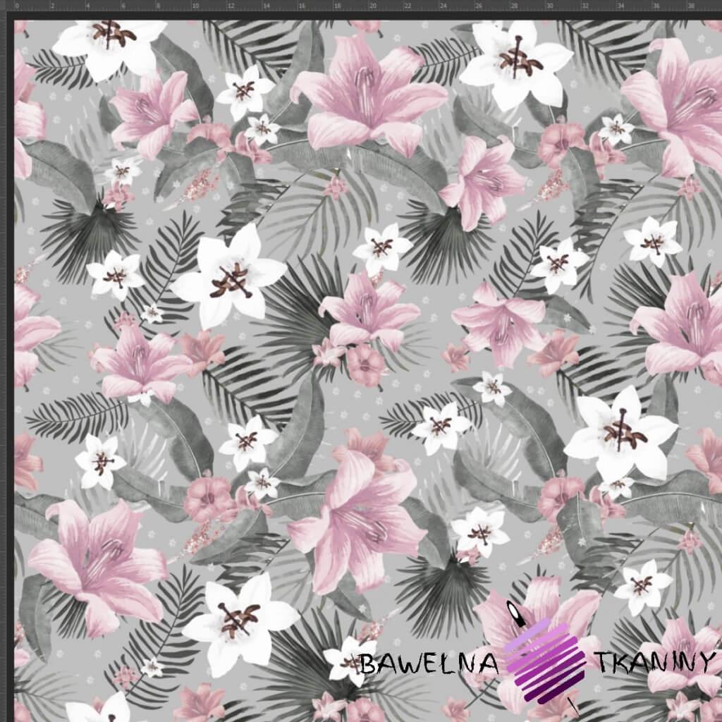 Dresówka pętelka druk cyfrowy - kwiaty różowe na szarym tle
