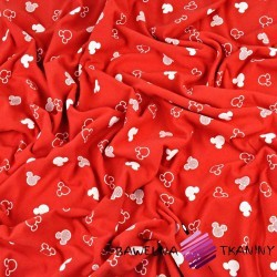 Dresówka pętelka - miki kontury białe na czerwonym tle