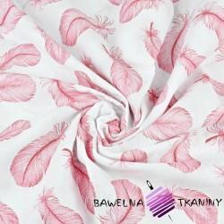 Muślin bawełniany piórka różowe na białym tle