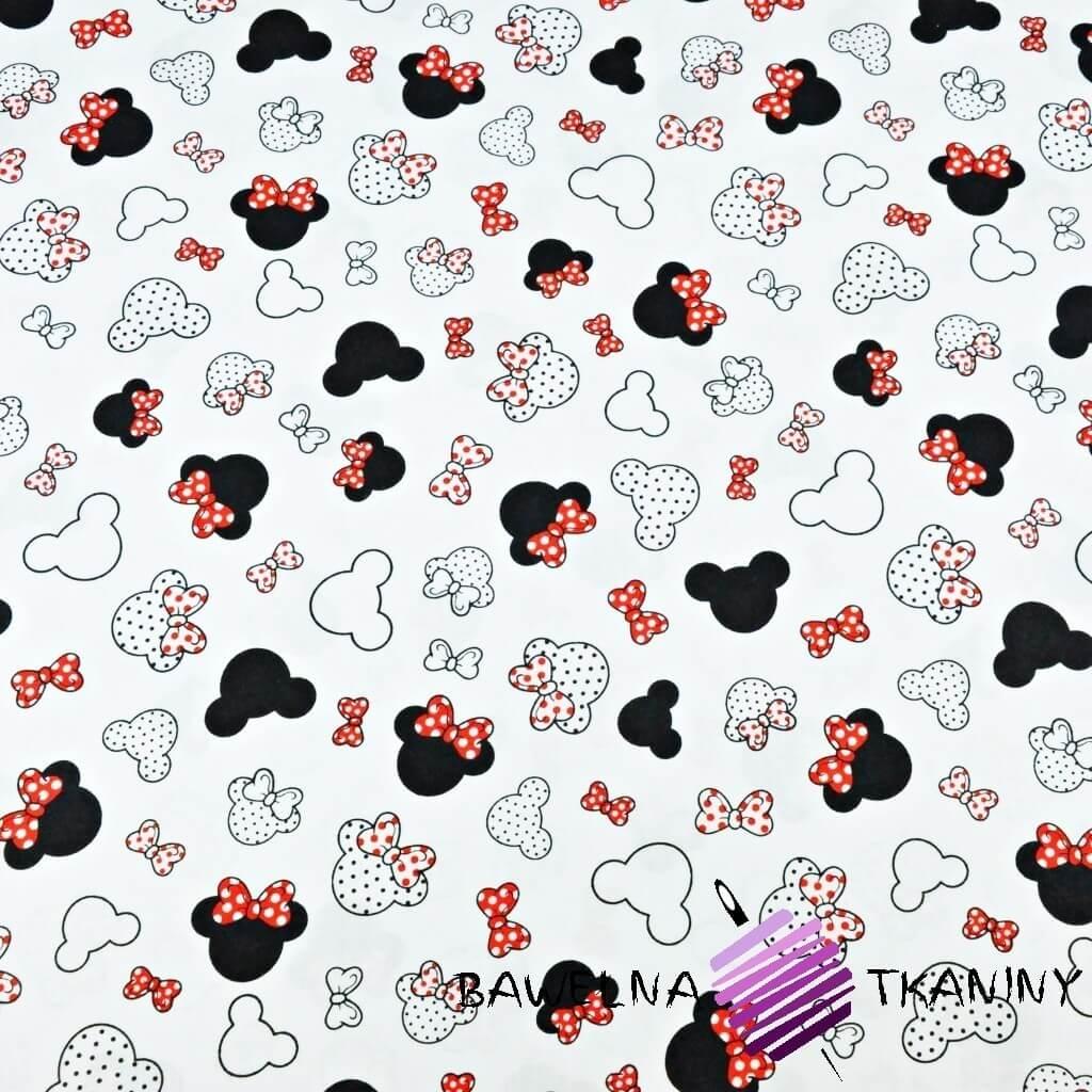 MIKI małe czarno czerwone z kokardką na białym tle