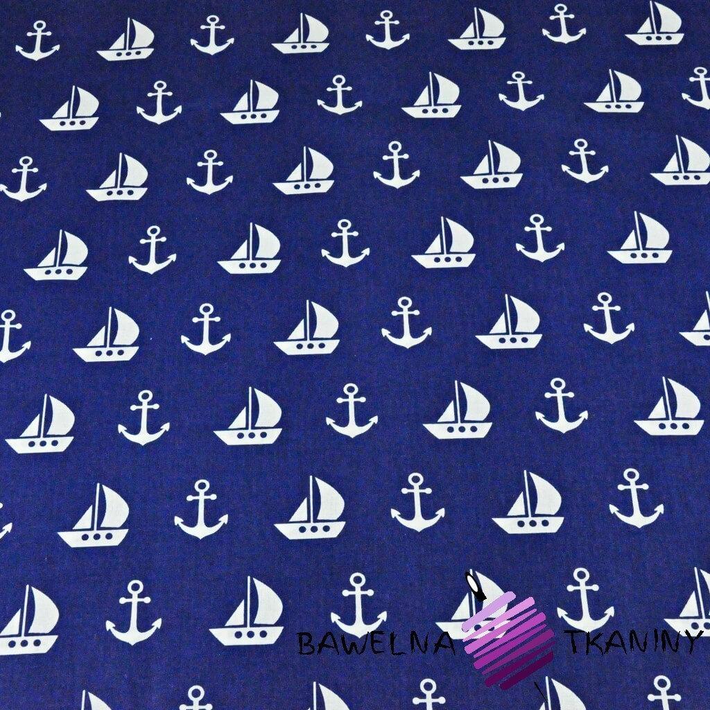 kotwice i statki białe na granatowym tle