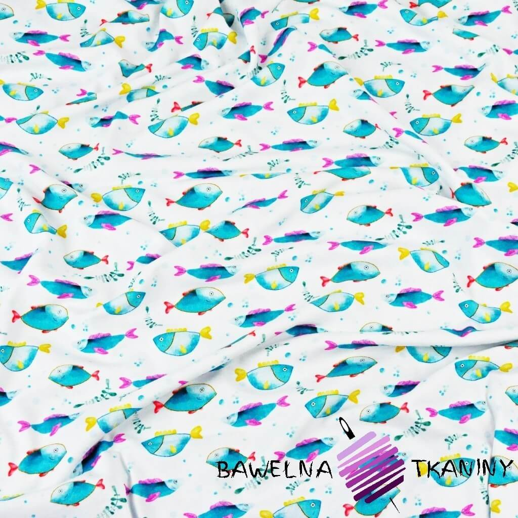 Dzianina bawełniana Jersey druk cyfrowy - morskie rybki na białym tle