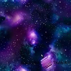 Dzianina Jersey druk cyfrowy kosmos niebiesko fioletowy
