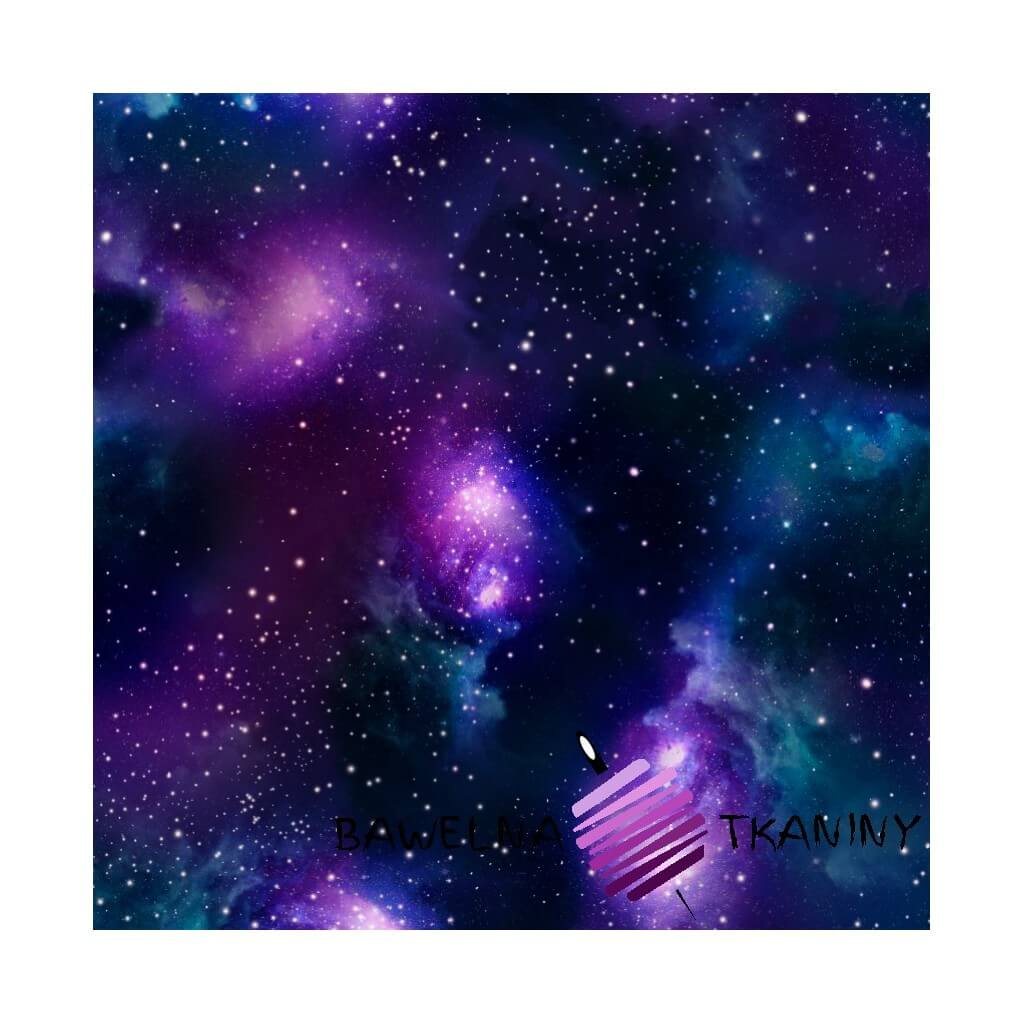 Cotton Jersey knit digital printing of space navy blue and violet