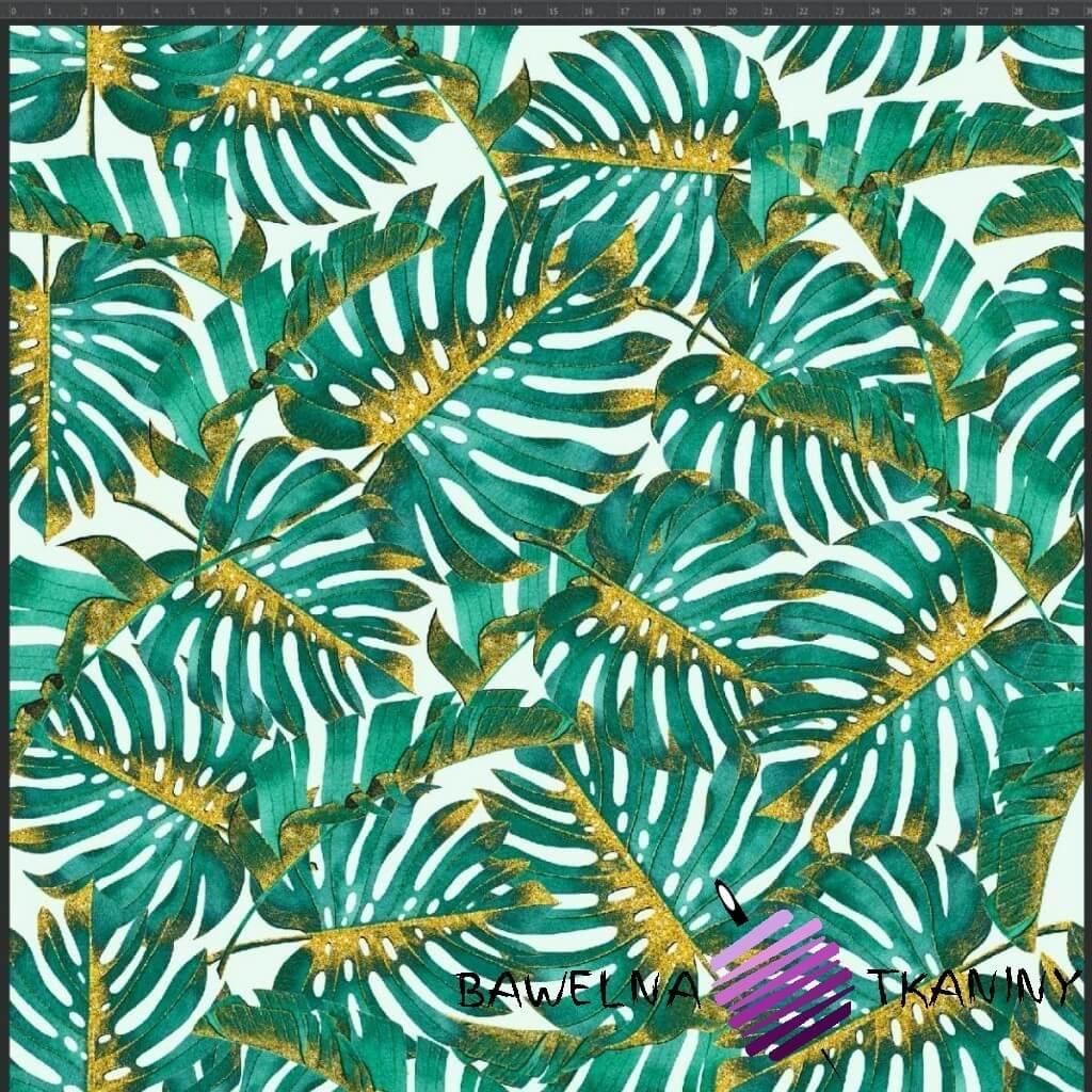 Dzianina Jersey druk cyfrowy - Liście monstera zielono złote na białym tle