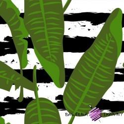 wodoodporna tkanina liście na biało czarnych pasach