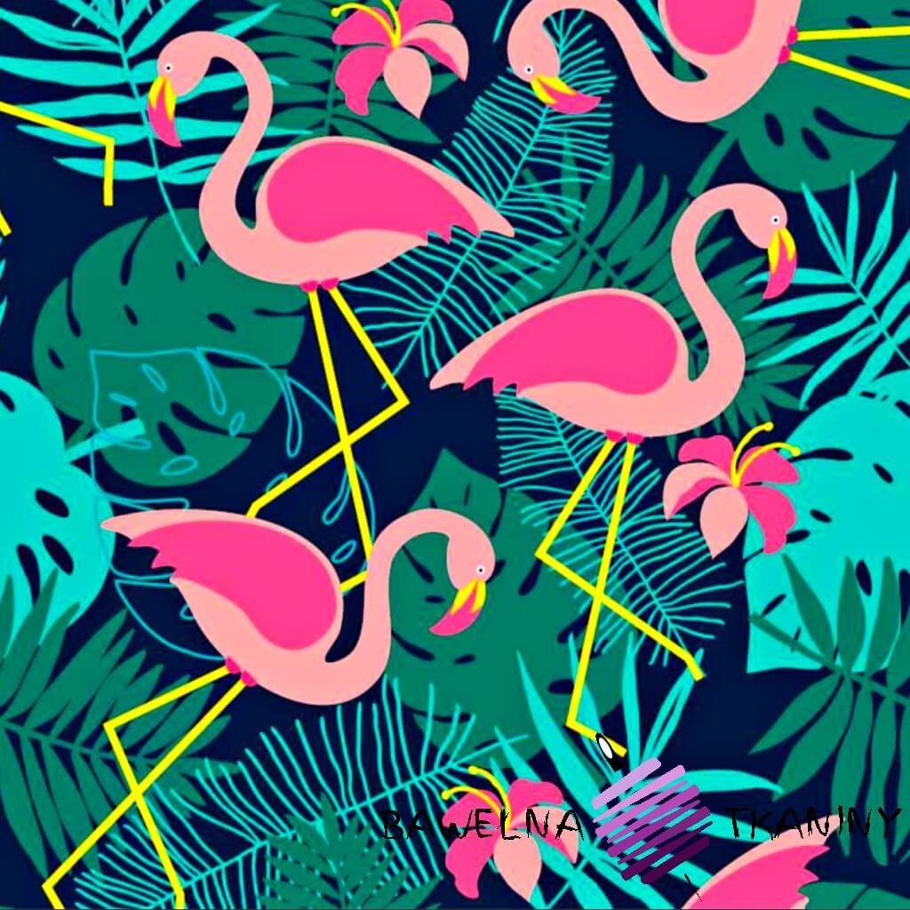 wodoodporna tkanina różowe flamingi na granatowo zielonym tle