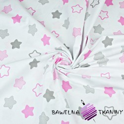 Cotton pink & gray gingerbread stars on white background