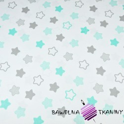 Cotton mint & gray gingerbread stars on white background