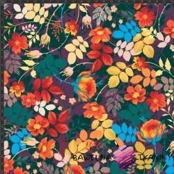 Dzianina Jersey druk cyfrowy kwiaty i liście czerwono pomarańczowe na fioletowym tle