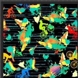 Dzianina Jersey druk cyfrowy kolorowi rowerzyści na czarnym