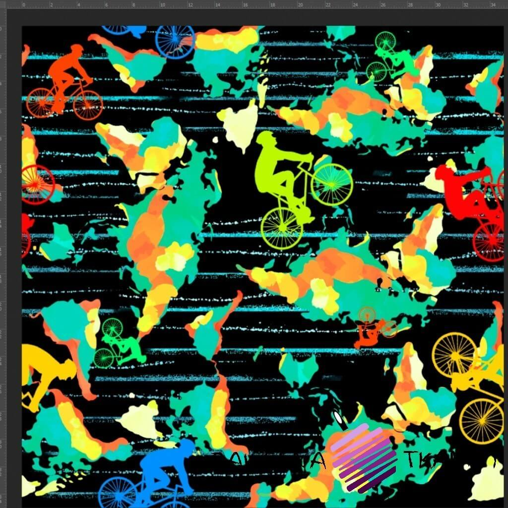 Cotton Jersey knit digital printing of colorful bikers on black