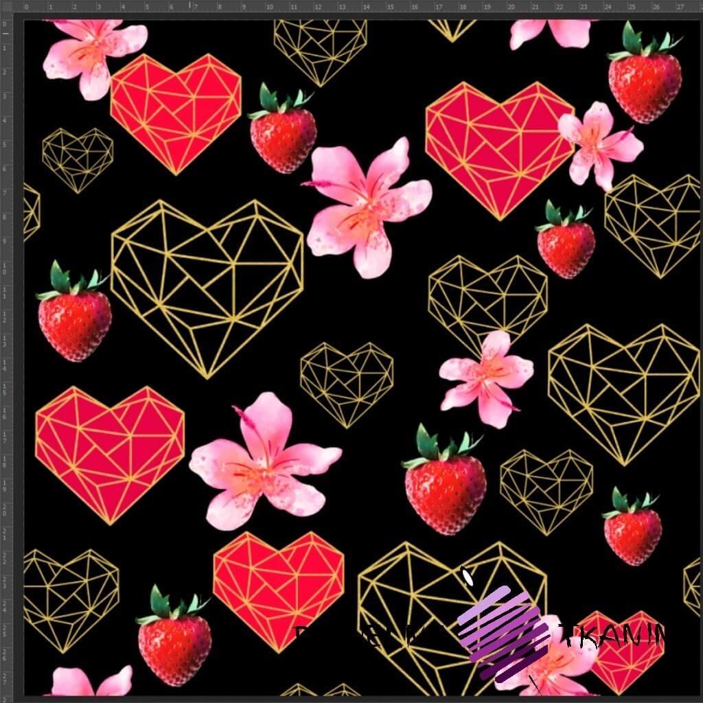Dzianina Jersey druk cyfrowy serca, truskawki i geometryczne na czarnym tle