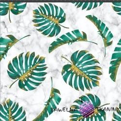 Dzianina Jersey druk cyfrowy - Liście monstera zielono złote na białym marmurowym tle