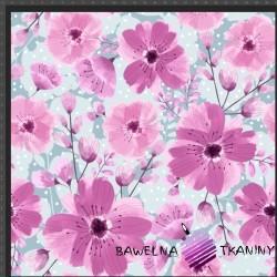 Dzianina Jersey druk cyfrowy kwiaty maki różowe na szarym tle