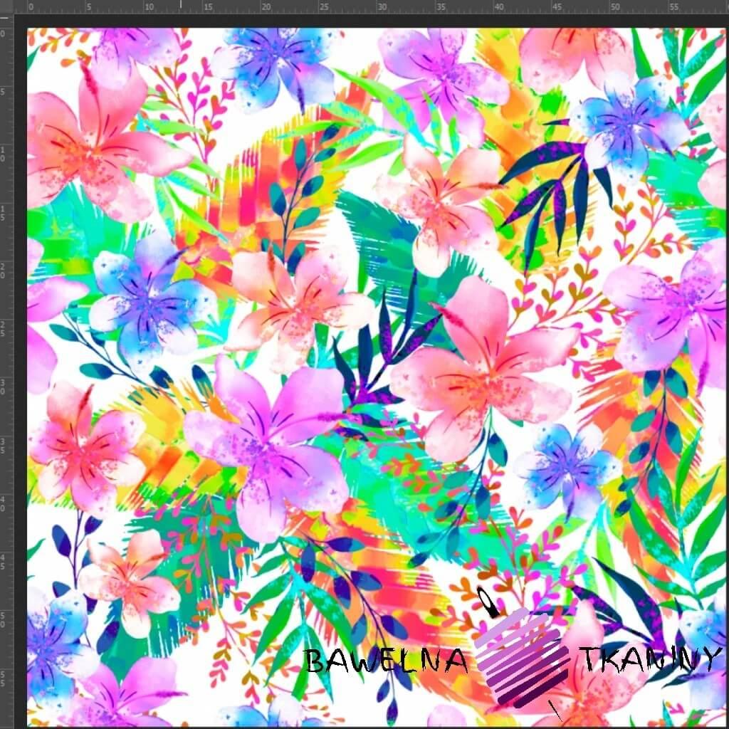 Dzianina Jersey druk cyfrowy kwiaty i liście neonowe na białym tle