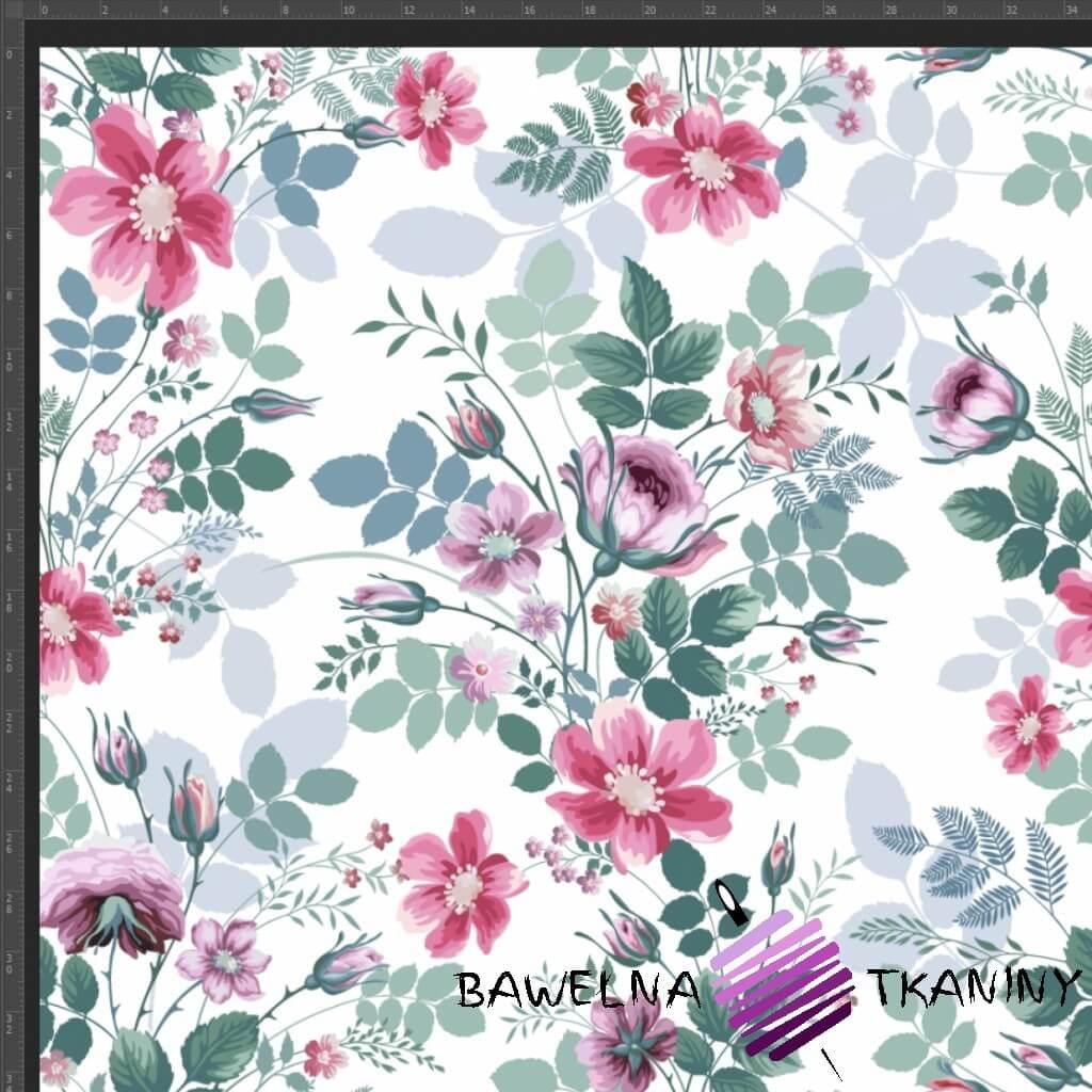 Dzianina Jersey druk cyfrowy bukiety kwiatowe różowo zielone na białym tle