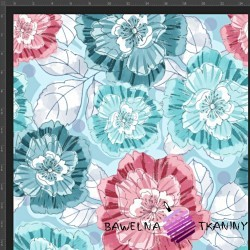 Cotton Jersey knit digital printing of mint red anemone flowers on a blue background