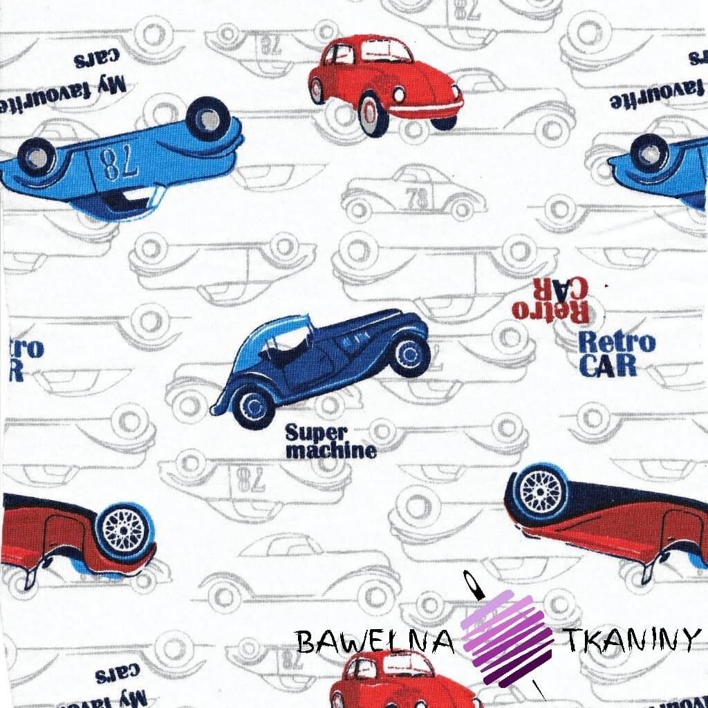 Dzianina Jersey samochody retro na białym tle