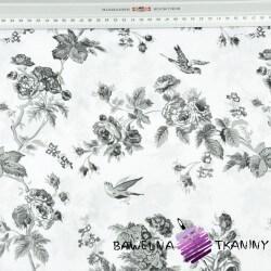 różyczki szare z ptaszkami na białym - 220 cm