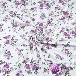 gałązki różyczek fioletowe na białym - 220 cm