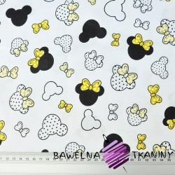 MIKI małe czarno żółte z kokardką na białym tle