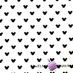 Dresówka pętelka - miki czarne na białym tle