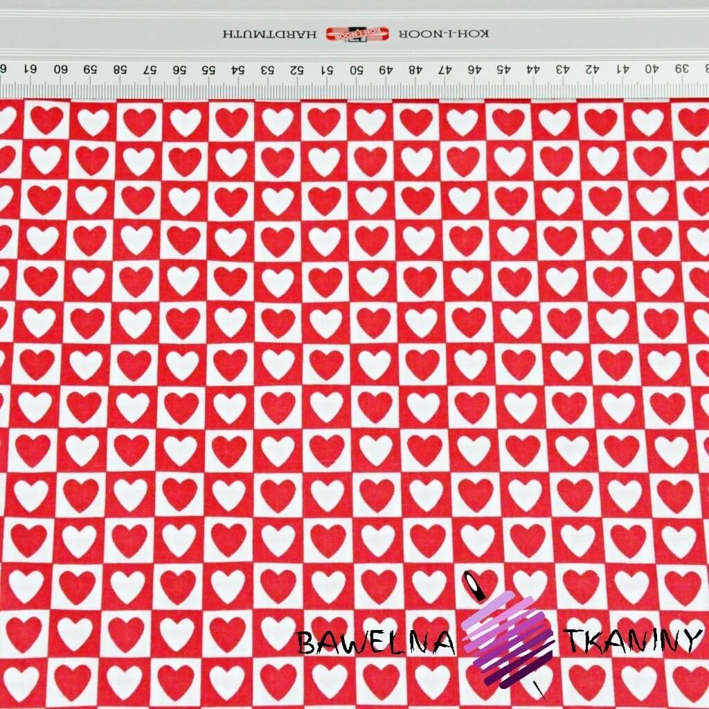 serca MINI w kwadratach biało czerwone