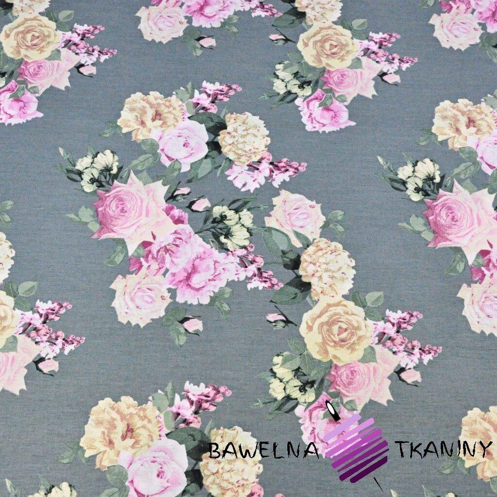 kwiaty bukiety dużych róż na ciemno szarym tle