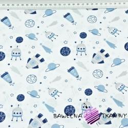 Bawełna kosmos MINI niebieski na białym tle
