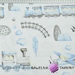 Kolejka i samolot niebiesko szare rysowane na białym tle