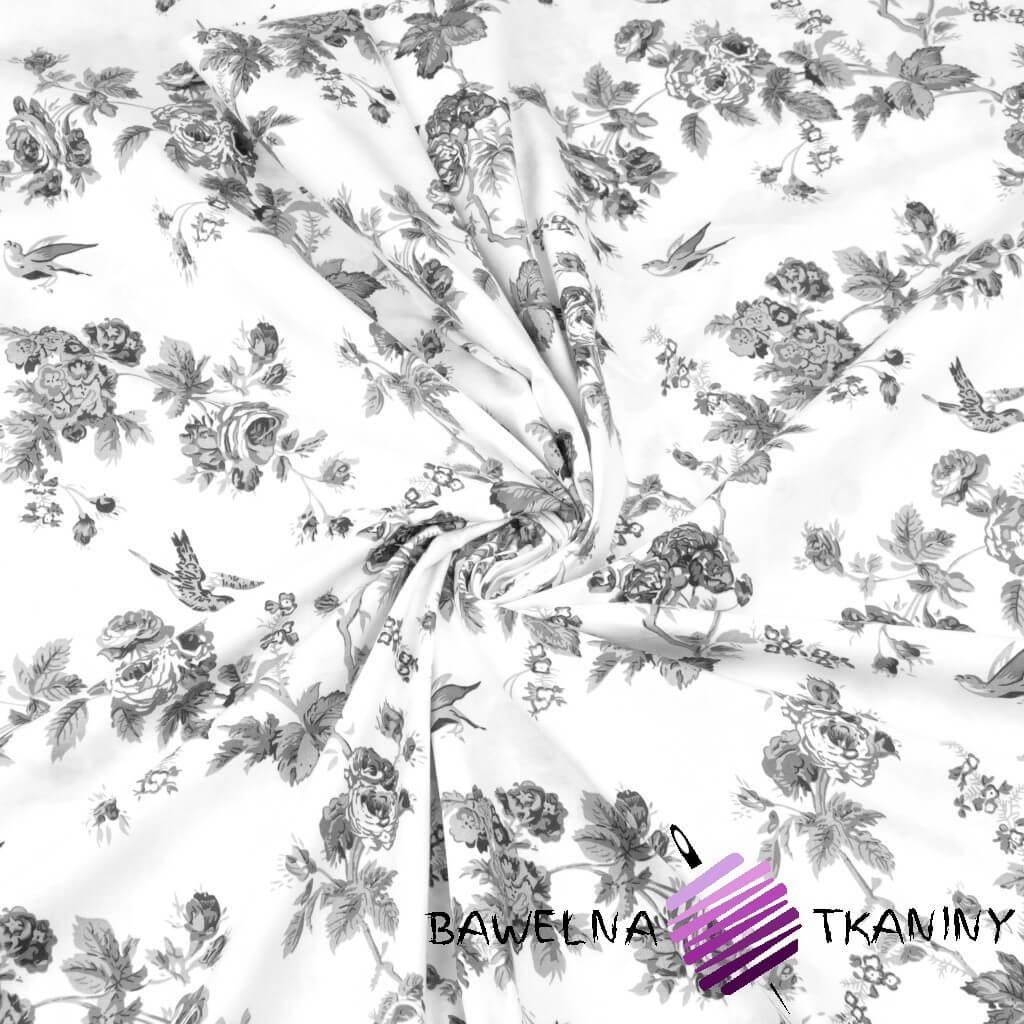 różyczki szare z ptaszkami na białym