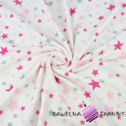 Flanela gwiazdki różowo szare na białym