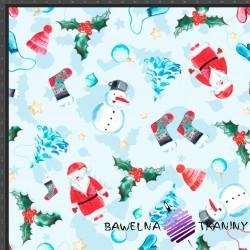 Dzianina Jersey druk cyfrowy świąteczne mikołaje i bałwanki na błękitnym