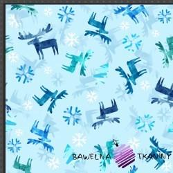 Dzianina Jersey druk cyfrowy świąteczne renifery ze śnieżynkami na błękitnym