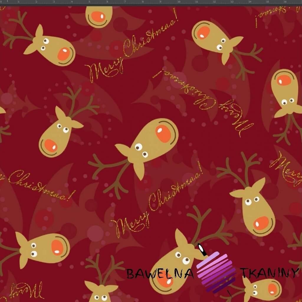 Dzianina Jersey druk cyfrowy świąteczne renifery na bordowym tle