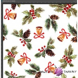 Dzianina Jersey druk cyfrowy świąteczne ostrokrzew z dzwoneczkami na białym