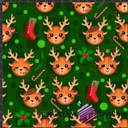 Dzianina Jersey druk cyfrowy świąteczne renifery na zielonym tle