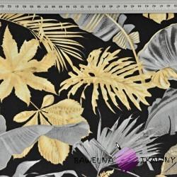 liście złoto szare na czarnym tle